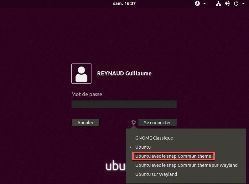 Lancer le nouveau thème Communitheme Ubuntu dans une session distinct.