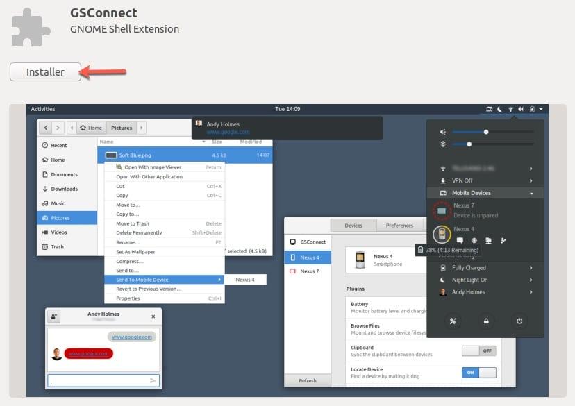 Connecter un appareil Android sur Ubuntu avec GSConnect.