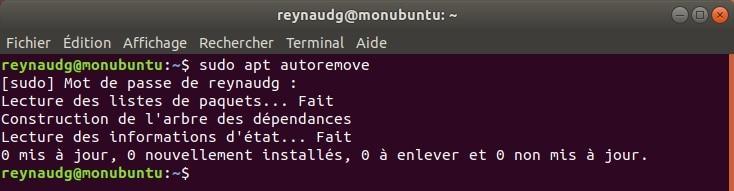 Nettoyage du système avec la commande autoremove.