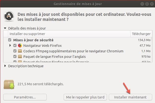 Liste des mises à jour disponible sous Ubuntu
