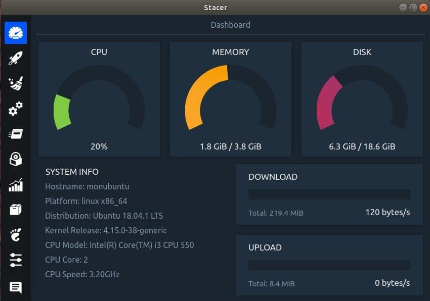 Le logiciel Stacer sous Linux Ubuntu permet de nettoyer votre système et d'afficher des informations pratiques.