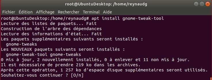 Installer Gnome Tweak pour modifier des paramètres cachés de Ubuntu.