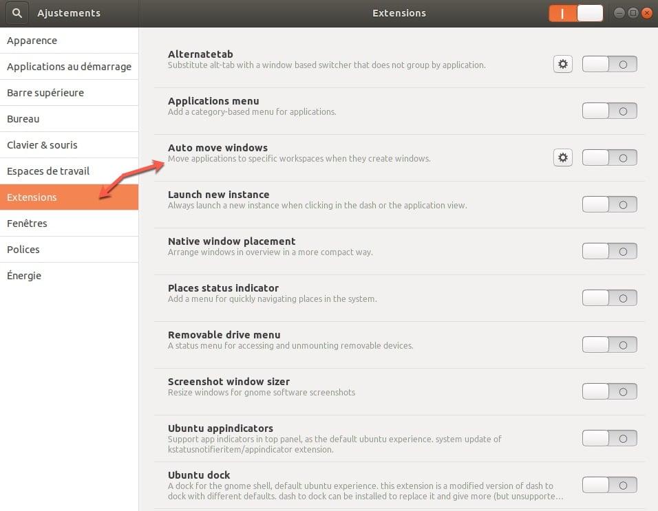 Installer les extensions à Gnome Tweak