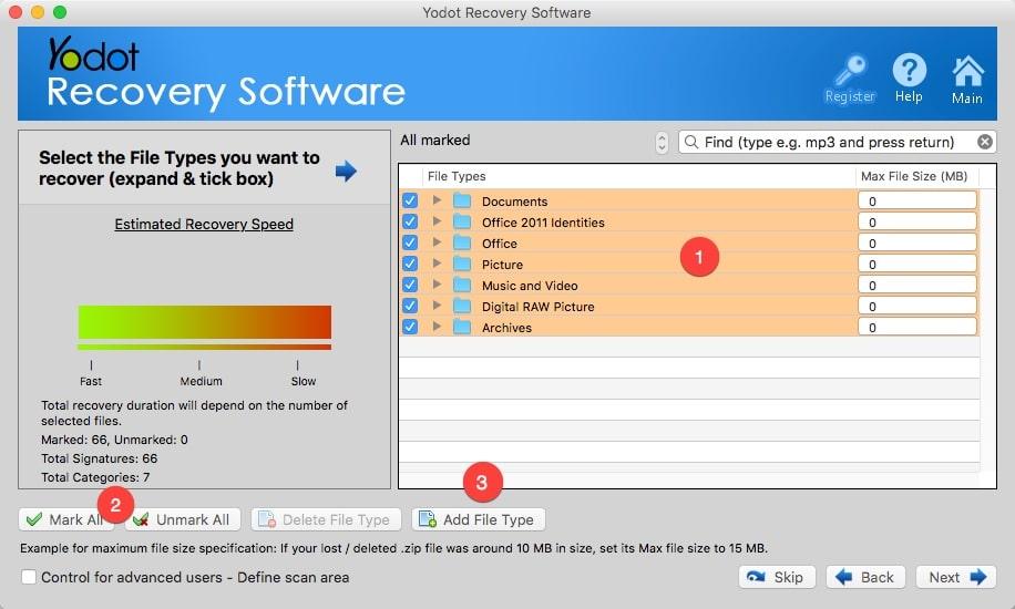 Sélectionner les types de fichiers que vous souhaitez récupérer avec Yodot