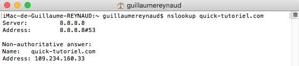 Vérifier si son nom de domaine est bien propagé sur Internet grâce à la commande nslookup.