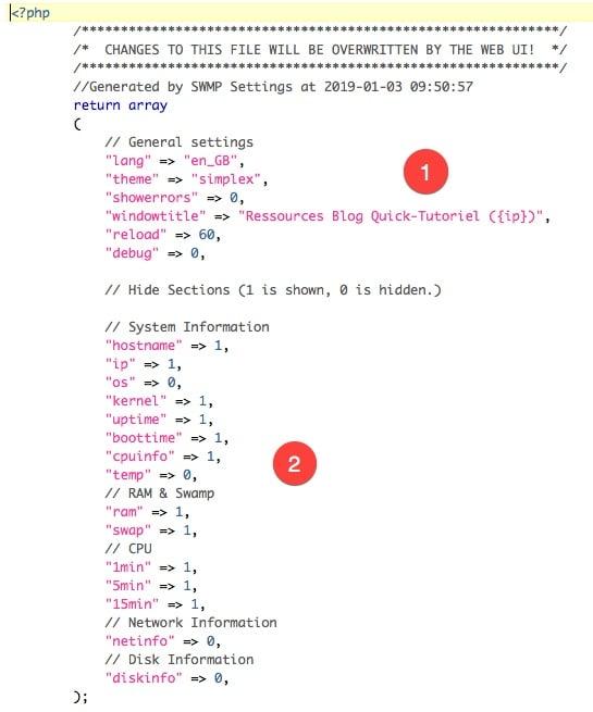 Paramétrage du fichier de config de SWMP