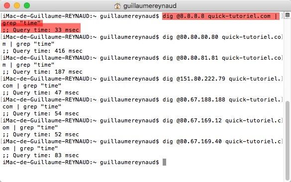 Effectuer un test de rapidité des serveurs DNS avec la commande DIG.