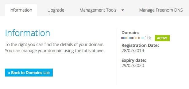 Pour avoir des informations sur le domaine, créer un enregistrement, modifier les DNS Server gérant le domaine il suffit de cliquer sur Manage Domain sur Freenom.