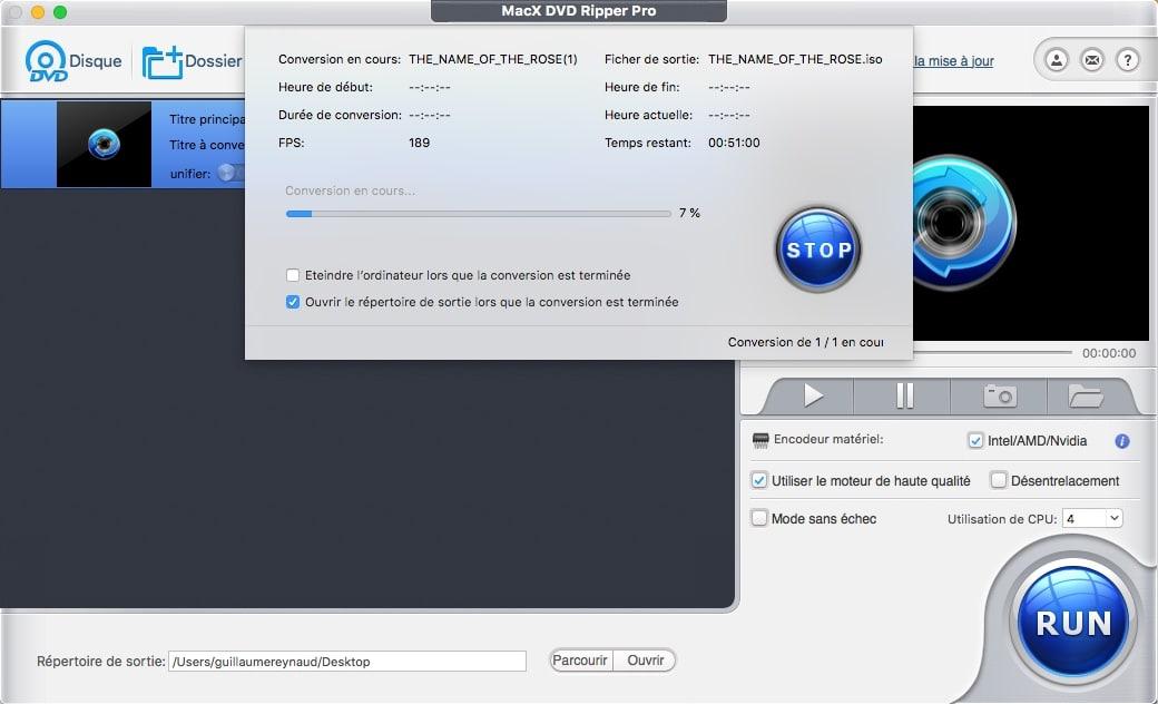 Démarrer le processus d'extraction du DVD avec MacX DVD Ripper Pro