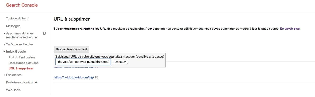 Supprimer une URL de votre blog du moteur de recherche Google depuis Search Console