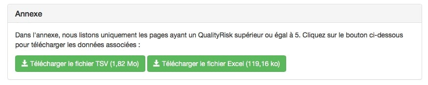 Télécharger le détail des pages avec l'indice QualityRisk de RM Tech