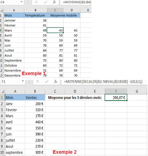 Obtenir la moyenne mobile des derniers N jours / semaines / mois / années dans une colonne avec Excel