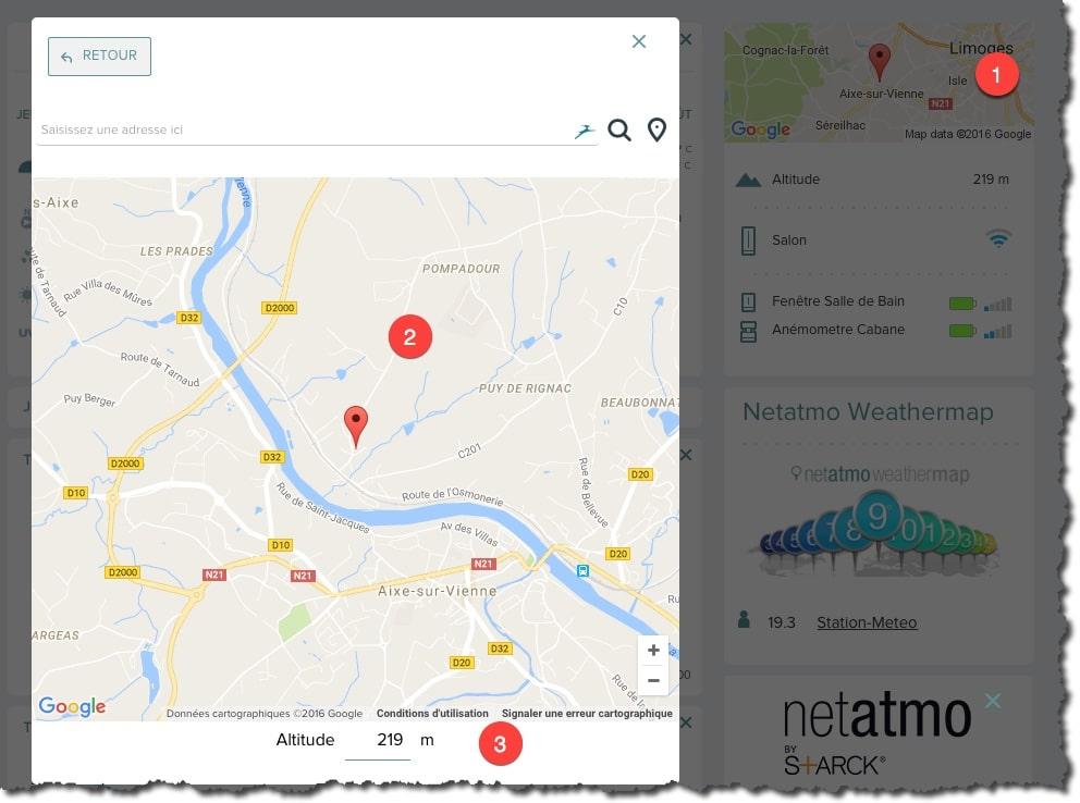 Localiser votre station météo Netatmo sur Google Map.
