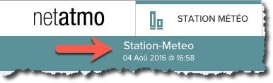 Affichage de la date de dernière synchronisation avec votre station météo Netatmo.