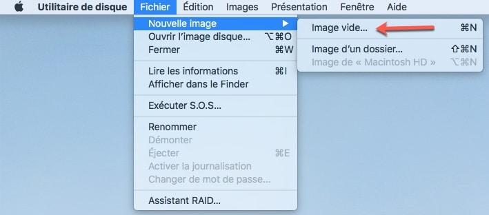 Créer une image disque avec l'utilitaire disque de MAC