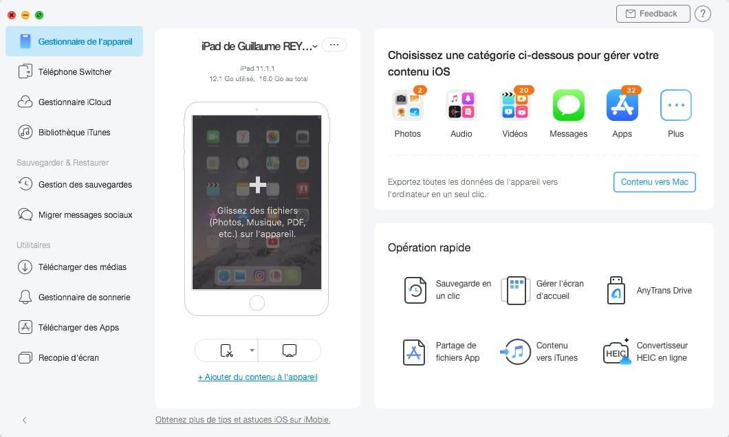 1 clic pour sauvegarder vos données de l'iPhone et de l'iPad avec AnyTrans.
