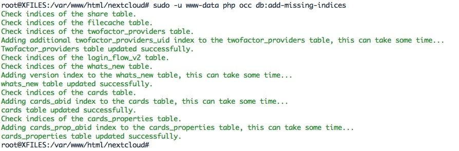 Utiliser les commandes occ de Nextcloud pour mettre à jour la base de données