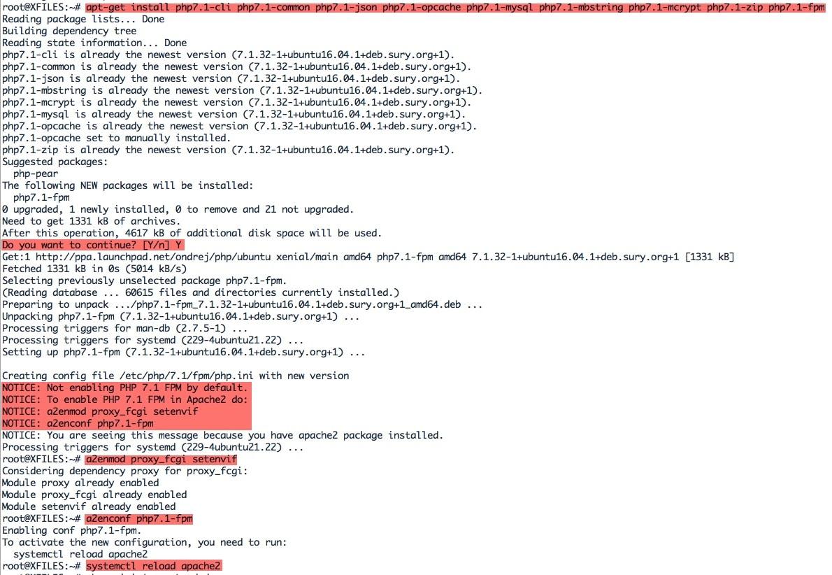 Installation des paquets supplémentaires pour Nextcloud et activation de PHP 7.1 sous Apache sous Ubuntu.