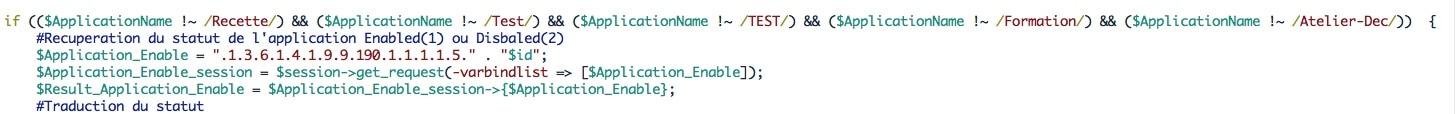 Portin de code de la sonde PERL qui permet d'exclure certains mots dans le nom pour ne prendre que les applications de production.