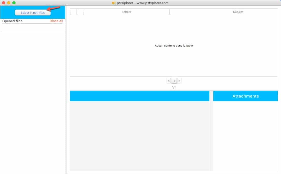 Ouvrir un fichier pst sous MAC avec Free PST Viewer.
