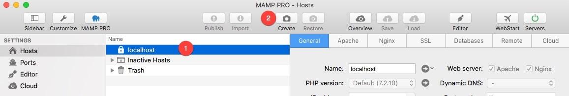Créer un snapshot de votre installation avec MAMP Pro.