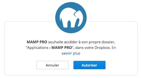 Associer votre compte Dropbox avec MAMP Pro