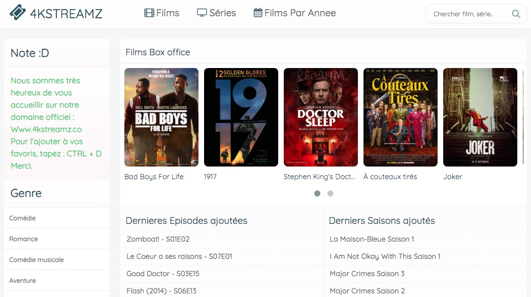 4KSTREAMZ est un site de diffusion de séries et films en streaming