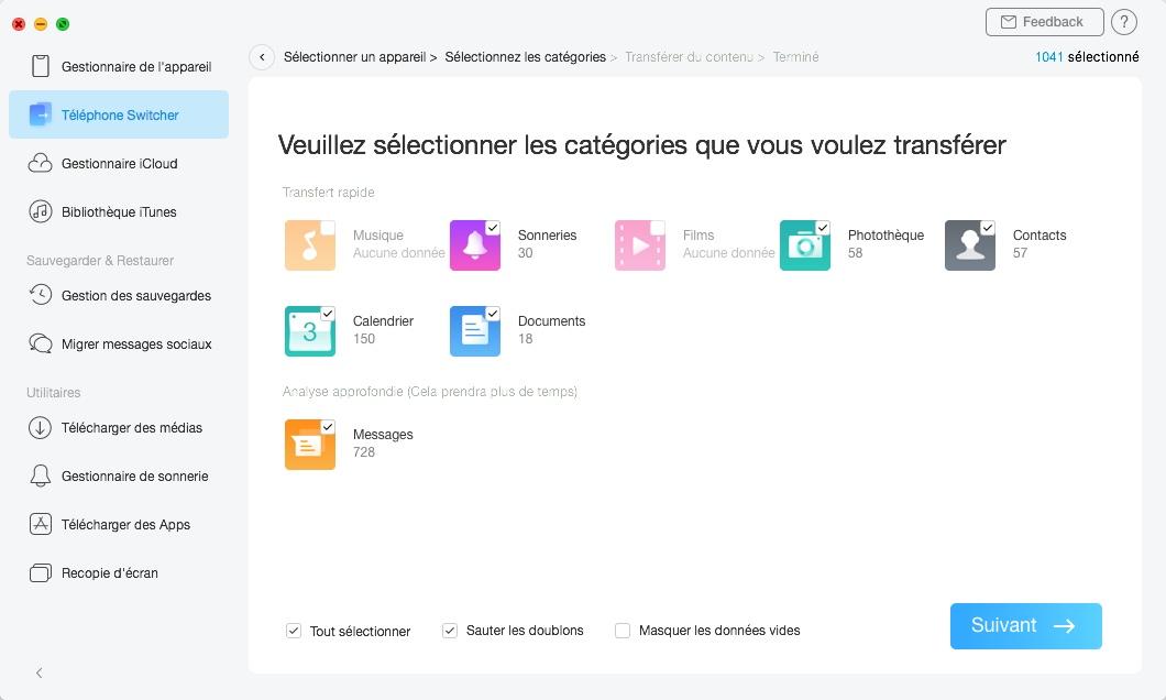 Sélectionner les catégories de données que vous souhaitez transférer vers votre nouvel iPhone avec AnyTrans
