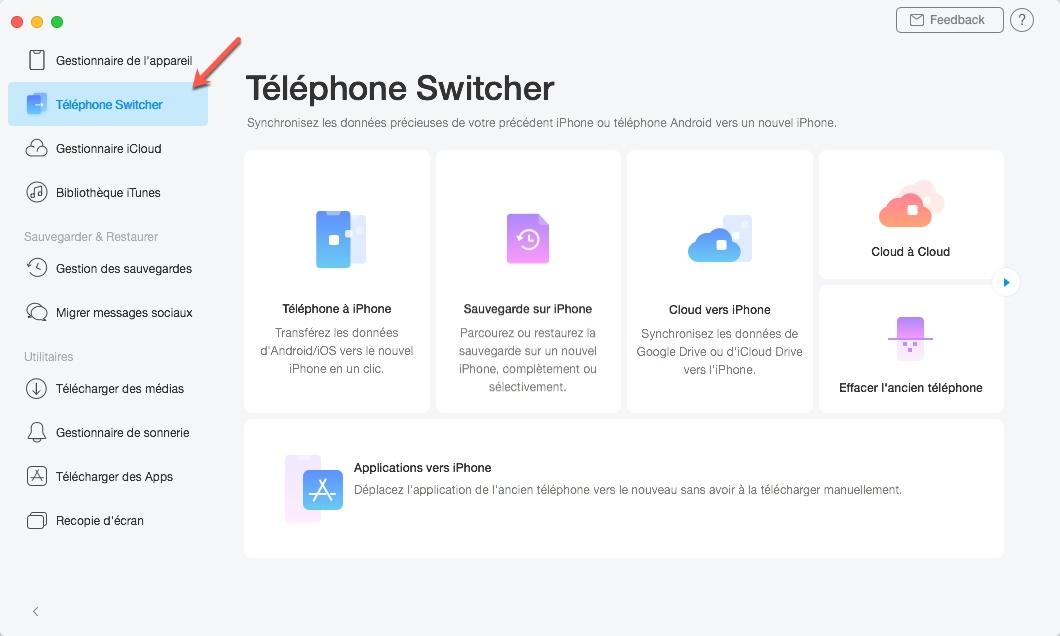 Transférer vos données de Android vers iOS avec Anytrans et le module Téléphone Switcher