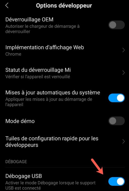 Activer les options du développeur sous Android