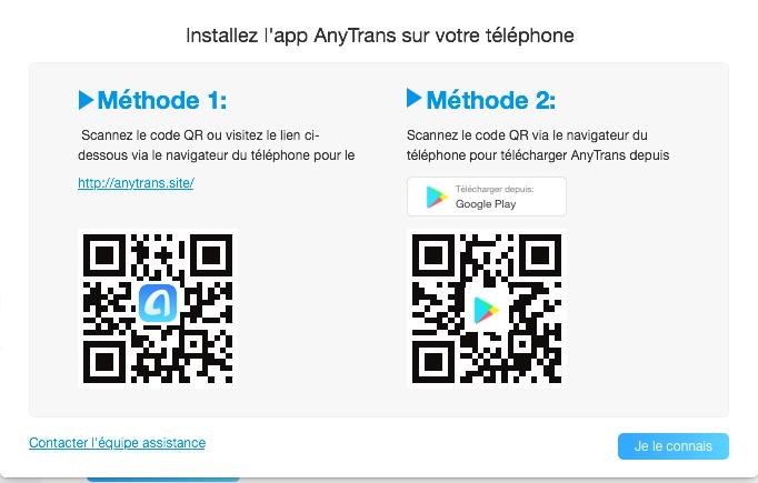 Pour utiliser le module Téléphone Switcher de AnyTrans vous devez installer une version allégée de AnyTrans sur Android
