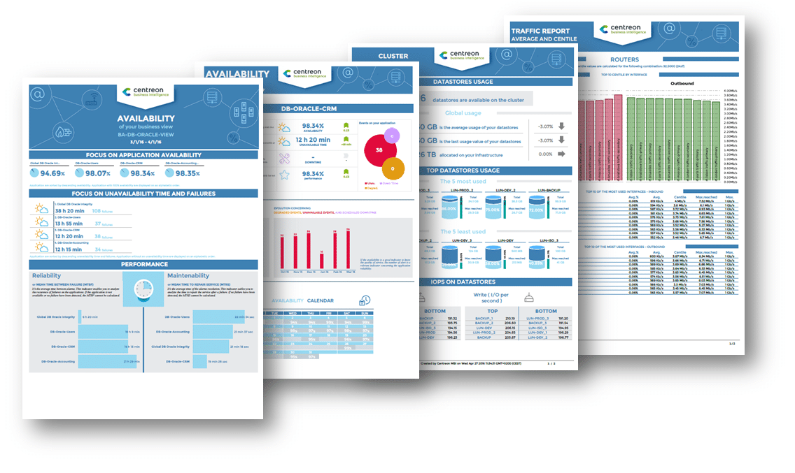 Centreon MBI (Monitoring Business Intelligence) présente des reportings de suivi des disponibilités et des performances, dans des modèles de rapports conçus pour les responsables recherchant un haut niveau de consolidation.