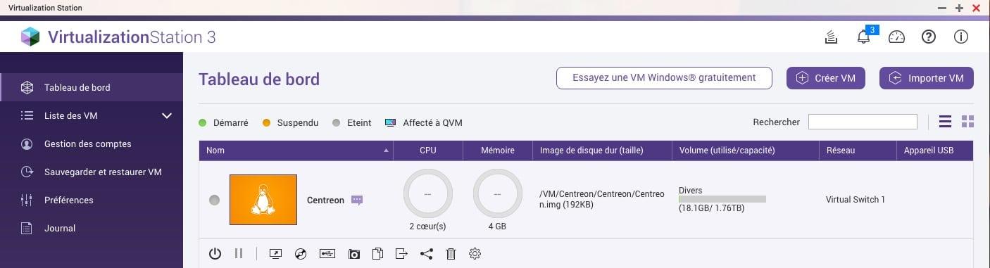 Créer une VM Centreon sur un NAS QNAP avec le logiciel Virtualization Station