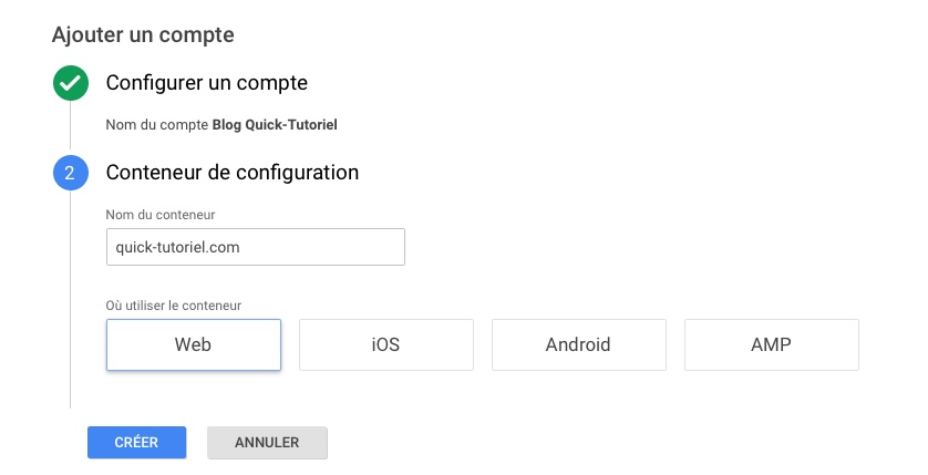 Installation de Google Tag Manager