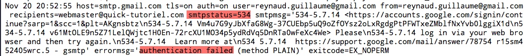 Lors d'un problème il faut consulter le fichier de log que vous aurez définie dans la configuration de msmtp
