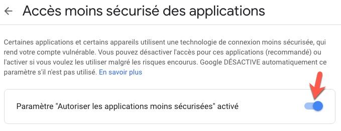 Autoriser les appalications a accéder à votre compte Google