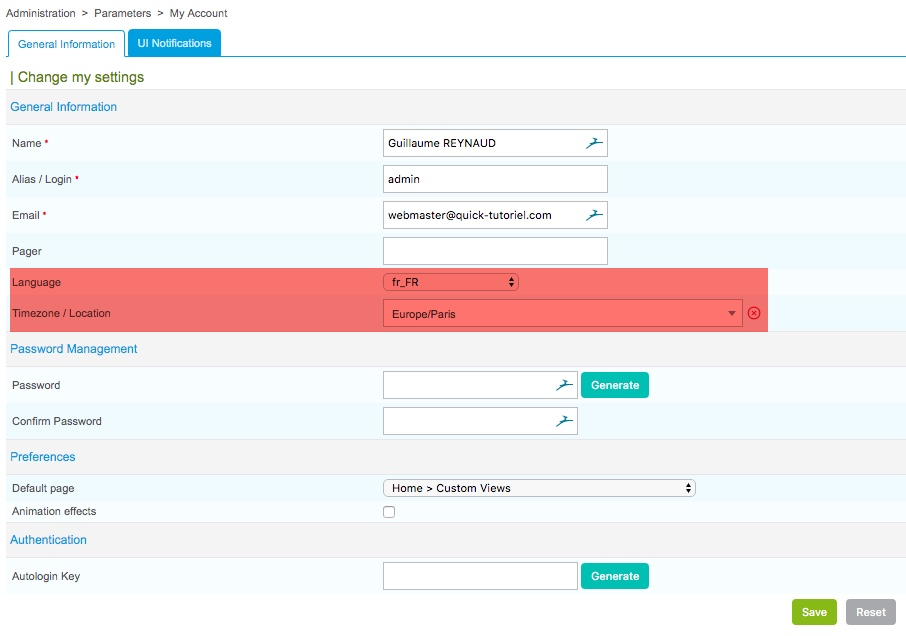 Modifier la langue et le fuseau horaire dans le profil des utilisateurs de Centreon