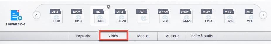 Sélectionner un format de vidéo dans VideoProc