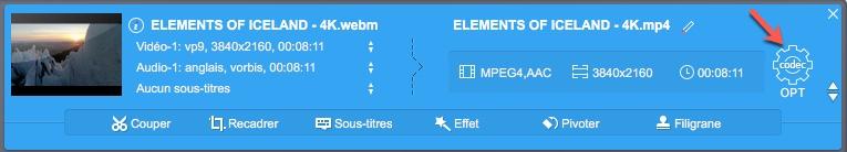 Modifier un paramètre pré-enregistré dans un profils dans VideoProc