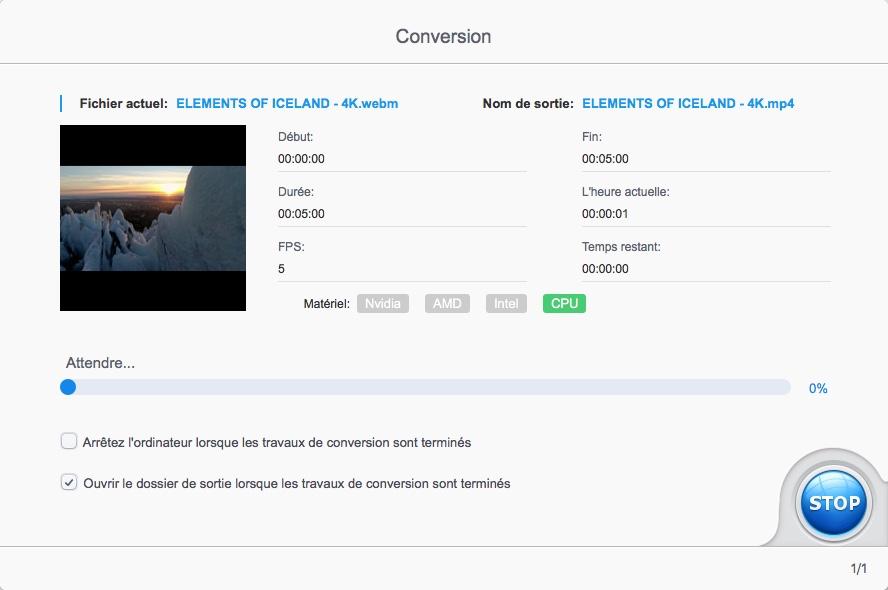 Lancer la conversion d'une vidéo 4K avec VideoProc