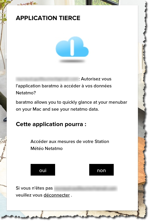 Autoriser une application tierce à se connecter à votre station météo Netatmo.
