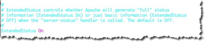 Décommenter la ligne ExtendedStatus On dans le fichier httpd.conf du serveur Apache