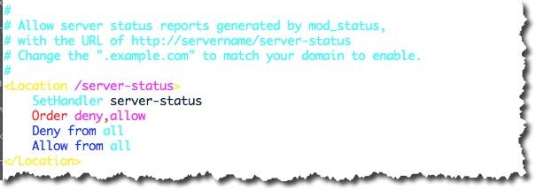 Modification du fichier httpd.conf pour activer la fonction Server-Status du serveur Apache