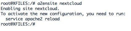 activer la configuration Apache pour NextCloud