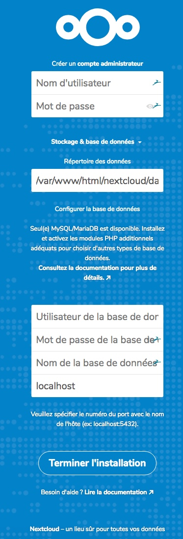 Test d'accessibilité à NextCloud
