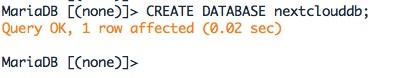 Créer la base MariaDB pour Nextcloud