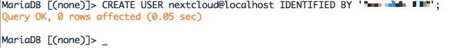 Création d'un utilisateur Admin pour la base MariaDB de Nextcloud