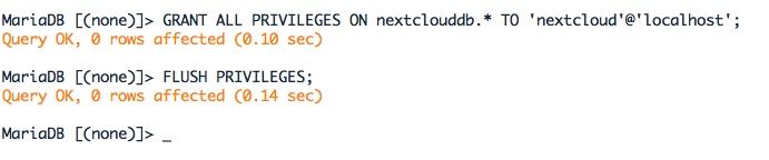 Affectation des privilèges à l'utilisateur de la base Nextcloud