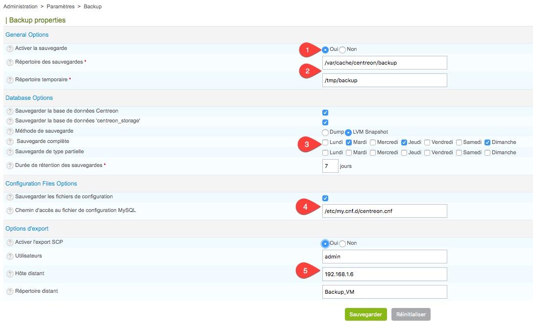 Sauvegarde des fichiers Centreon et de la base MySQL depuis l'interface web de Centreon