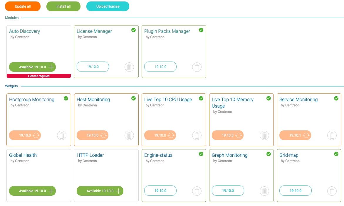 Mise à jour des modules et des widgets